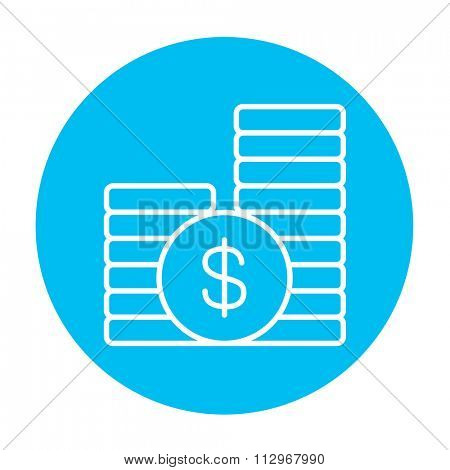 Dollar coins line icon for web, mobile and infographics. Vector white icon on the light blue circle isolated on white background.