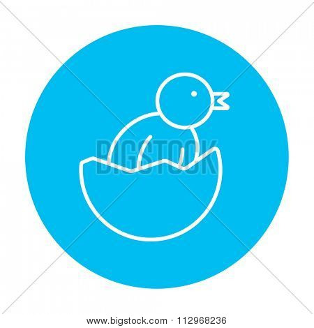 Chick peeking out of an egg shell line icon for web, mobile and infographics. Vector white icon on the light blue circle isolated on white background.