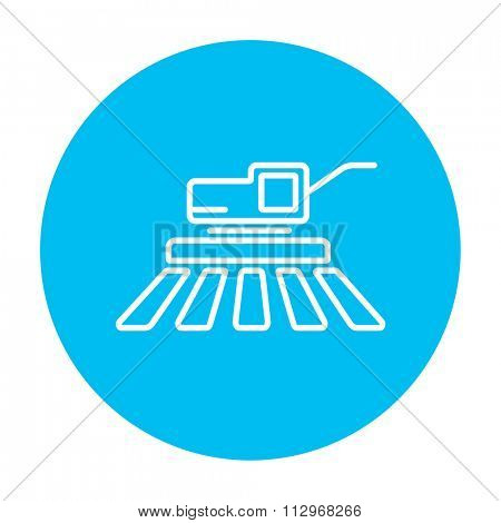 Combine harvester line icon for web, mobile and infographics. Vector white icon on the light blue circle isolated on white background.