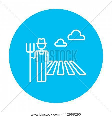 Farmer with pitchfork standing on the field line icon for web, mobile and infographics. Vector white icon on the light blue circle isolated on white background.