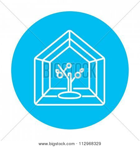 Greenhouse line icon for web, mobile and infographics. Vector white icon on the light blue circle isolated on white background.