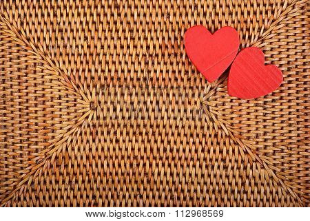 Heart On Wickered Background