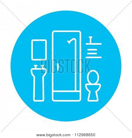 Bathroom line icon for web, mobile and infographics. Vector white icon on the light blue circle isolated on white background.