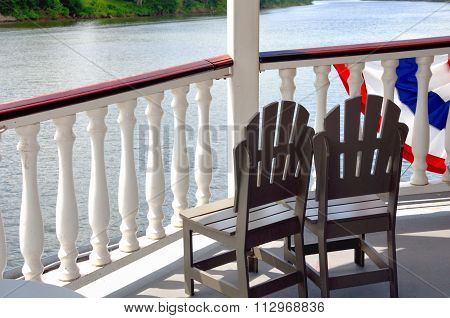Chairs on deck of riverboat cruise