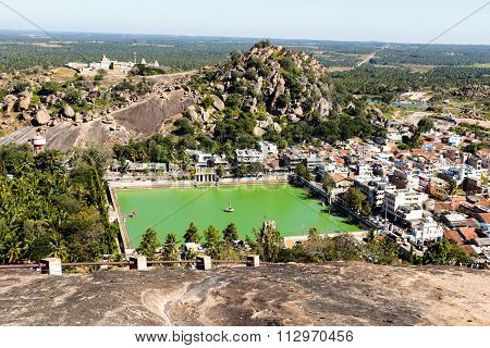 Aerial view of a Shravanabelagola town in Karnataka, India captured on December 30th, 2015