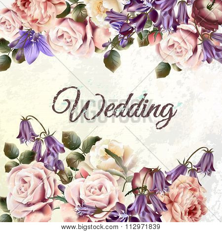 Beautiful Background Or Invitation With Rose Flowers