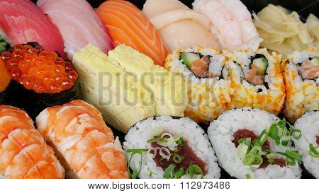 Japanese delicious sushi in the lunch box set
