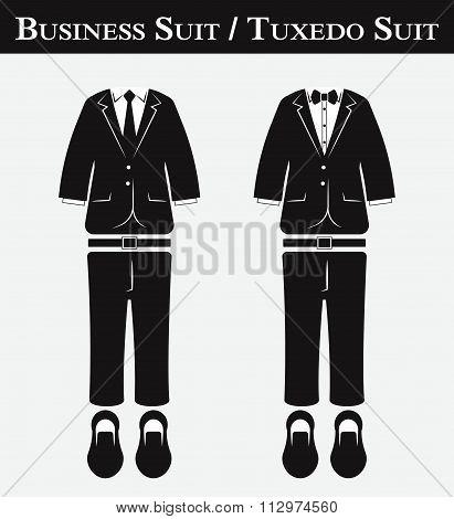 Business Suit And Tuxedo Suit ( Vintage Style , Flat Design )