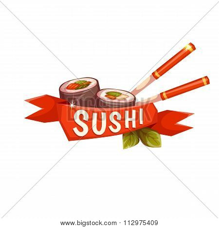 Banner Sushi with chopstick and ribbon. Vector illustration