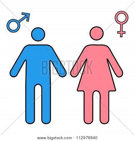 Color Man And Woman Symbol. Gender Mars And Venus Signs.