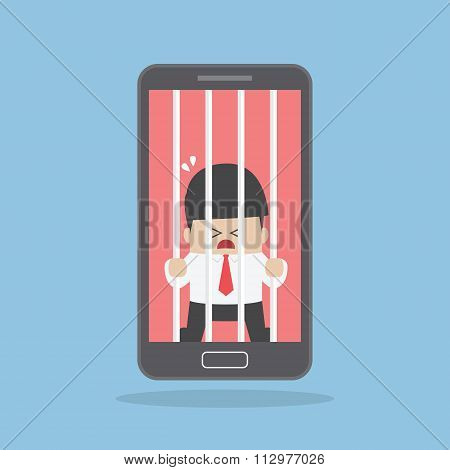 Businessman Locked In Smartphone