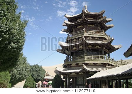 Temple in Crescent lake Mingsha Shan (Echo Sand Mountain) Dunhuang China