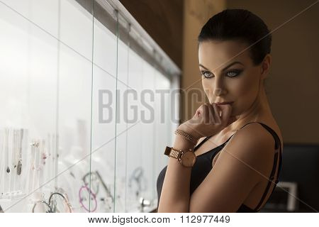 Woman Indoor In Jewelery, Natural Light