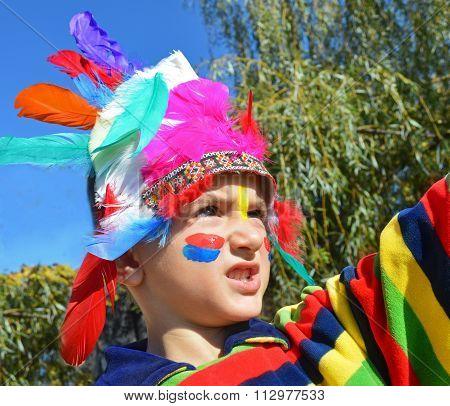 Kid Dressed As Injun