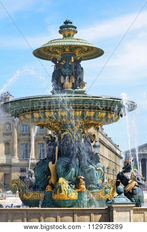 Ornate fountain at Place de la concorde