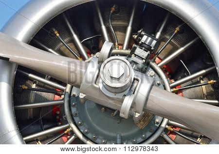 Extreme close up of aircraft Engine