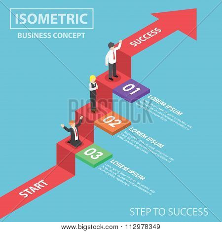 Isometric Businesspeople On Business Graph Ladder