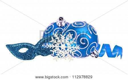Beautiful Blue Christmas Balls And Carnival Mask Isolated On White