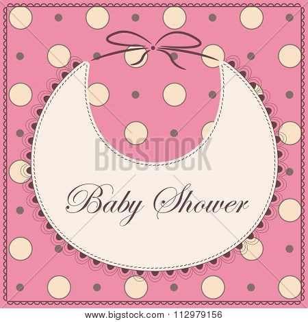 Baby shower with bib pink vintage