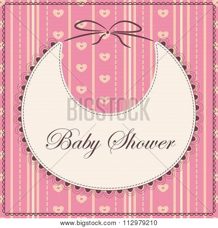 Baby shower with bib pink sprited