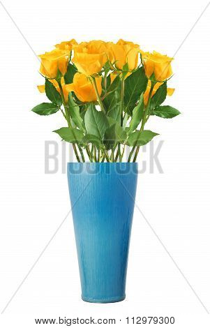Beautiful Yellow Roses In Vase Isolated On White