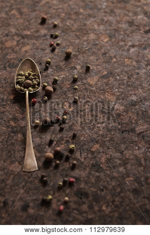 Pepper Mixture. Seasoning For Any Dish, On A Spoon