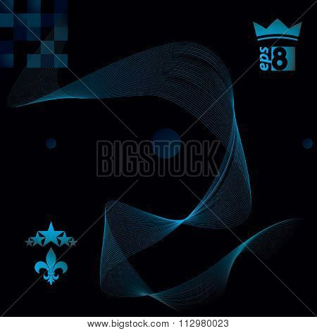 Dimensional Flowing Stripy Ribbon, Dreamy Futuristic Background With Royal Elements, Stars And Crown