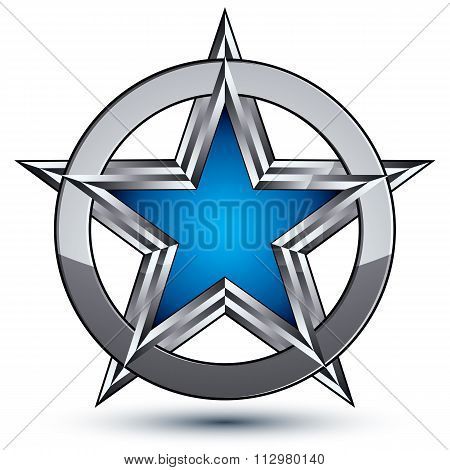 Silvery Rounded Geometric Symbol, Stylized Pentagonal Blue Star Placed In Silver Ring