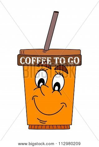 Color Cup Of Coffee With An Inscription - Coffee To Go - Illustration