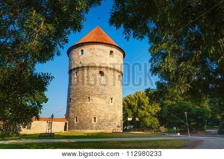Medieval Tower Kiek-in-de-Kok In Park On Hill Toompea in Tallinn