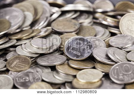 bunch Russian rubles in the form of coins close up