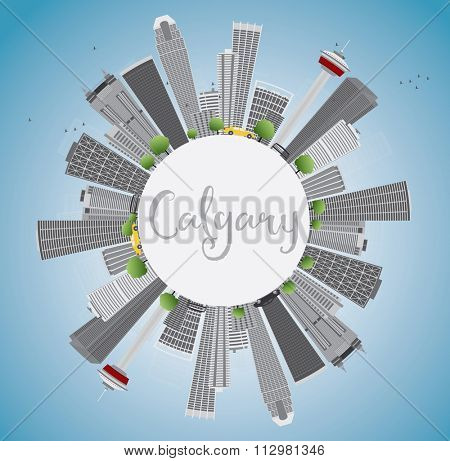Calgary Skyline with Gray Buildings, Blue Sky and Copy Space. Vector Illustration. Business travel and tourism concept with place for text. Image for presentation, banner, placard and web site.
