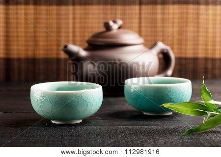 Green Tea In The Tea Cups