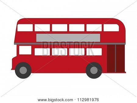Stylized London iconic double-deck bus on white background