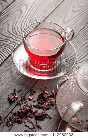 Hibiscus Tea In The Cup And Teapot