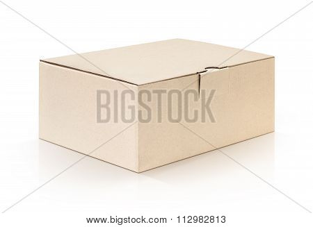 Cardboard Kraft Box Isolated On White Background