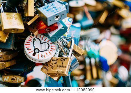 Love locks on bridge in European town