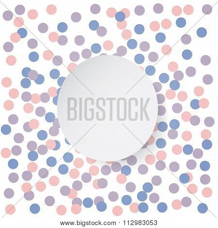 Confetti backdrop with white banner. Rose quarts and serenity colors. Vector illustration.