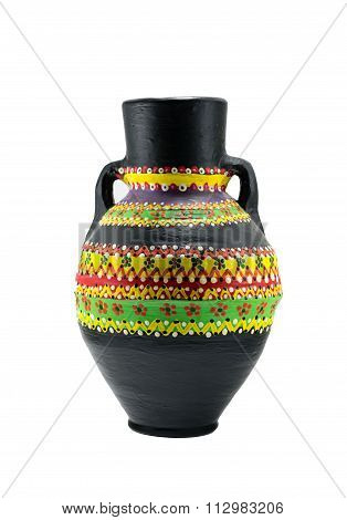 Egyptian Black Artistic Painted Pottery Vessel (arabic: Kolla)