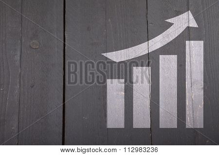 White Graph With Growth On Dark Wooden Background