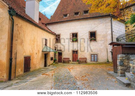 Old European medieval houses in the streets of Krumlov, Czech re