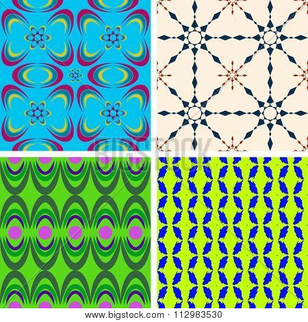Set Of Four Seamless Patterns