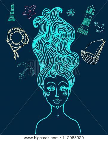 vector elegant lady with antique hair set