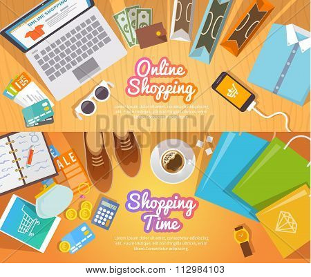 Shopping flat vector banners