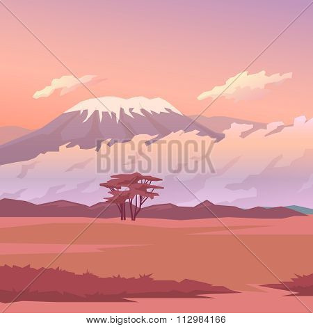 Savannah. Vector illustration. Background.