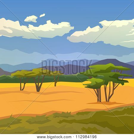 Savannah. Vector background. Mountains.