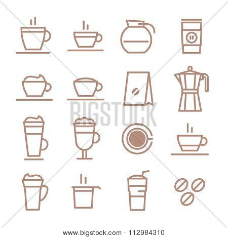 Line vector icons. Drinks. Coffee.