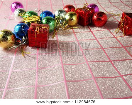 Christmas Ornament, Colorful On Tartan Background