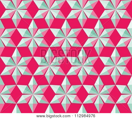 Christmas seamless pattern. Silver crystal shining snowflakes on magenta background. Winter, holiday