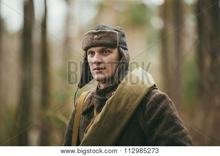 Unidentified re-enactor dressed as Russian Soviet soldier in ove